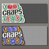 Vector horizontal banners for Craps gamble Royalty Free Stock Photo