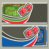 Vector horizontal banners for Craps gamble. Thrown pair red cube dices flying on green craps table, 2 layouts with frame on abstract grey background for text Stock Photo