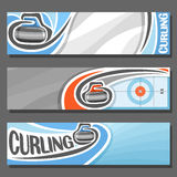 Vector horizontal Banners for Curling. 3 cartoon covers for title text on curling theme, on ice rink granite stone, rock sliding in target, abstract headers Royalty Free Stock Photo