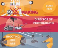 Vector horizontal banners about filming and cinema. Banner with film making stuff, director of photography, acting. Set of designs. Vector horizontal banners Royalty Free Stock Photos