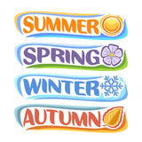 Vector horizontal banners Four Seasons. Spring - lavender flower sharon, summer - hot sunshine, autumn - fall leaf, winter - frost snowflake, abstract logos stock illustration