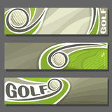 Vector horizontal Banners for Golf. 3 cartoon covers for title text on golf theme, golf course with flying ball and hole with flag, abstract simple headers Royalty Free Stock Images