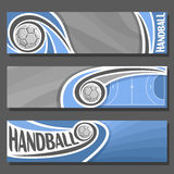 Vector horizontal Banners for Handball. 3 cartoon covers for title text on handball theme, sport blue court with flying on trajectory ball, abstract header royalty free illustration