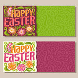 Vector horizontal Banners for happy Easter holiday Stock Image