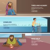 Vector horizontal banners with illustrations of poor and homeless peoples. Horizontal banner with hopeless and workless need help Stock Images