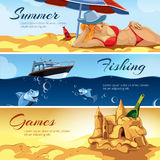 Vector horizontal banners with pictures of summer rest. Royalty Free Stock Photo
