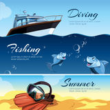 Vector horizontal banners with pictures of summer rest. Royalty Free Stock Image