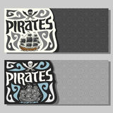 Vector horizontal banners for Pirate theme Royalty Free Stock Images