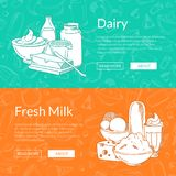 Vector horizontal banners with hand drawn dairy products. Vector horizontal banners with place for text and hand drawn dairy products gathered together on dairy Royalty Free Stock Photography
