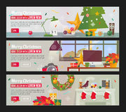 Vector Horizontal Banners set with Merry Christmas and Happy New Year Decor Interior. Workplace with decorations. Fireplace. Christmas home flat design banner Stock Image