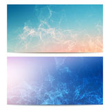Vector horizontal banners set with polygonal abstract shapes, with circles, lines, triangles. Polygonal banners Royalty Free Stock Photo