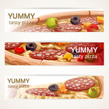 Vector horizontal banners with tasty pizza Royalty Free Stock Photo
