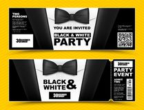 Vector horizontal black and white event invitations. Black bow tie businessmen banners. Elegant party ticket card with black suit. And white shirt stock illustration