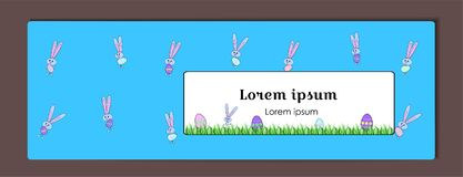 Vector horizontal blue banner for Happy Easter with painted eggs and a rabbit. Cartoon Bunny and eggs with a floral pattern. vector illustration