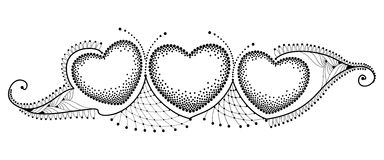 Vector horizontal border with three dotted heart and ornate lace in black isolated on white background. Dotwork design elements. Stock Photo