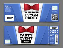 Vector horizontal cocktail party event invitations. Red bow tie official isolated businessmen banners. Elegant party ticket card royalty free illustration