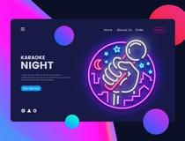 Vector horizontal de neón de la bandera del web del Karaoke Interfaz en diseño moderno de la tendencia, neón del web de la bander Fotos de archivo