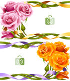 Vector horizontal frame set of yellow and pink roses Stock Images