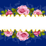 Vector horizontal frame whith pink roses Stock Photos