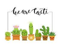 Vector horizontal illustration with frame and a bunch of cacti in pots. In flat style and with lettering stock illustration