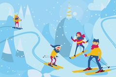 Vector horizontal illustration with happy family skiing in mountains. Winter scene with family activities with ski and snowboard Royalty Free Stock Photography