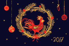 Vector horizontal illustration for invitation, poster, banner, p. Ostcard for party Happy New Year 2017. Symbol red fire rooster of year 2017 on wood background Stock Images