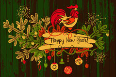 Vector horizontal illustration for invitation, poster, banner, p. Ostcard for party Happy New Year 2017. Symbol red fire rooster of year 2017 on wood background royalty free illustration