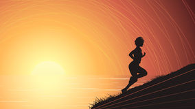 Vector horizontal illustration of runner above the sunset sea. Royalty Free Stock Photo