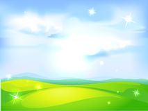 Vector horizontal natural background with blue sky. Green meadow and shining abstract sun Royalty Free Stock Image