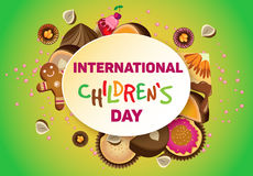 Vector horizontal poster on International Children`s Day. Royalty Free Stock Photo
