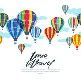 Vector horizontal seamless background with hot air balloons in the sky. Hand drawn doodle illustration. Royalty Free Stock Photography