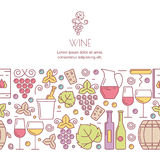 Vector horizontal seamless background with wine bottles, glass, grape vine, leaves signs. Royalty Free Stock Photo