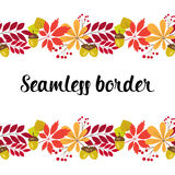 Vector horizontal seamless border with autumn leaves and berries on a white background. Stock Photos