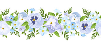 Vector horizontal seamless border with blue pansy and forget-me-not flowers. Stock Photo