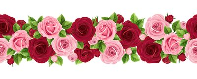 Horizontal seamless garland with burgundy and pink roses. Vector illustration. Vector horizontal seamless garland with burgundy and pink roses vector illustration