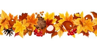 Horizontal seamless garland with colorful autumn leaves. Vector illustration. Vector horizontal seamless garland with orange, yellow and brown autumn leaves on Royalty Free Stock Photos