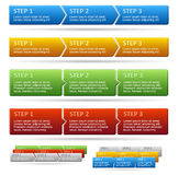 Vector horizontal steps. 2 styles and 5 colors. Stock Images