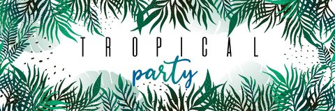 Vector horizontal tropical leaves banners on white background. Exotic botanical design for poster party,cosmetics, spa, perfume, h. Ealth care products, aroma stock illustration
