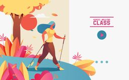 Vector horizontal web banner or landing page with young woman doing nordic walking. Illustration drawn with gradients, greenery royalty free illustration