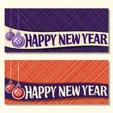 Vector horizontale kaarten voor Nieuwjaar Stock Fotografie