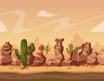Vector horizontale nahtlose Landschaft der Karikatur mit Steinen und Kaktus Wilde Hintergrundillustration des Spiels Stockfotografie
