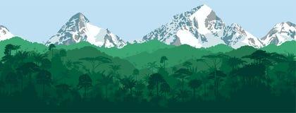 Vector horizontalen nahtlosen tropischen Dschungel mit Gebirgshintergrund Lizenzfreie Stockfotografie