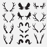 Vector Horns set silhouette on the grunge hipster background. Stock Photography