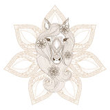 Vector Horse. Coloring page with Horse face on mandala backgroun Royalty Free Stock Photos