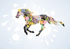 Vector horse with splashes Royalty Free Stock Photos