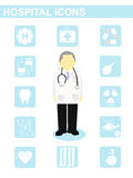 Vector hospital icon doctor patient x-ray dentist concept Royalty Free Stock Photos