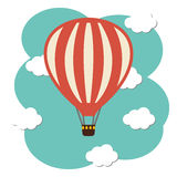 Vector hot air ballon icon. In the sky Stock Photos