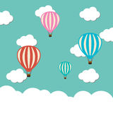 Vector hot air ballon icon. In the sky Stock Photography