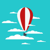 Vector hot air balloon with clouds Royalty Free Stock Photo