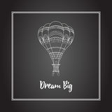 Vector hot air balloon illustration on the black board. Decorative vector white hot air balloon illustration image with on the black board. Motivational poster Royalty Free Stock Photo